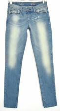 Señoras Demi Curve Azul Levis estrechos Jeans Elástico Tiro Bajo Talla 8 W27 L34