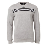 adidas Sweatshirt Mens Authentic 3 Stripes Post Game Fleece Cotton Crew Gray