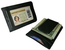 BLACK GENUINE LEATHER SLIM MONEY CLIP Credit Wallet Holder Metal ID Badge 33