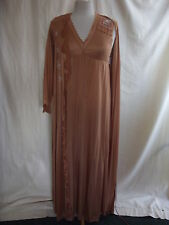 Ladies Nightgown & Slip - Size S, copper colour, silky feel, lace, floral - 2412