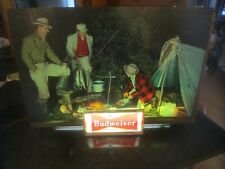 Vintage Budweiser Fishing Camp and Fly Fishing Scene Lighted Sign 1950's
