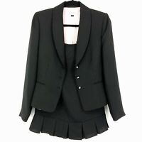 Tahari Arthur S Levine Two Piece Skirt Suit Black Pinstripe 6 Blazer 4 Skirt