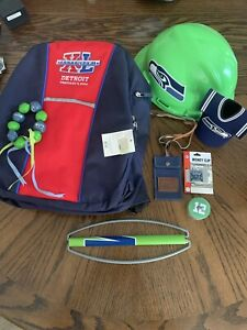 LOT DEAL NFL Seattle Seahawks Hard Hat Back Pack SB40 Money Clip Bracelet EtcNEW