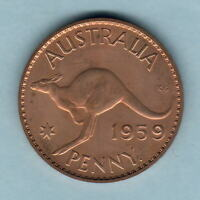 Australia.  1959 Perth Penny..  Proof - Near FDC