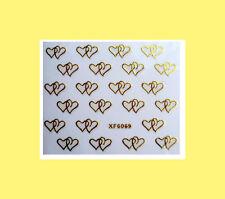 Nagelsticker  Fingernägel Aufkleber Tattoo Nail Art Nageldesign 6069 gold Herzen