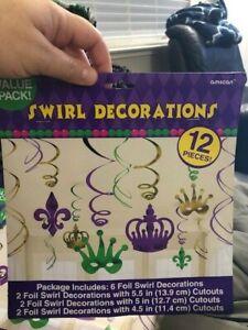 Mardi Gras Foil Swirl 12 pc Value Pack Hanging Decorations  Purple Green Gold