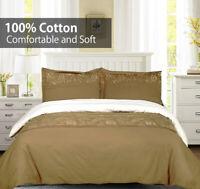 Geneva Soft 3PC Embroidered Duvet Cover Set- 100% Cotton Comfortable