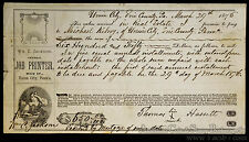 Obsolete Bank Check Union City Erie County PA 1875 Real Estate Promissory Note.