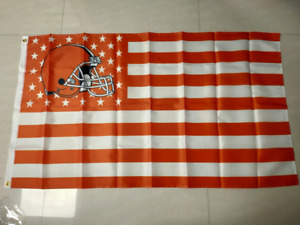 Cleveland Browns With Modified US Flag 3X5 FT Polyester NFL Football Banner