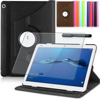 9H Hartglas Folie+ 360°Tasche Huawei MediaPad M3 Lite 10 Schutzhülle Etui Case