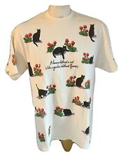 Vintage Cat T Shirt A Home without a Cat is Like a Garden without Flowers Size M
