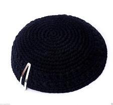 Black Knitted Yarmulke Kippah 15 cm Jewish Kippa Judaica Hat Cupples Free Clip