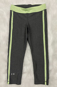 womens UNDER ARMOUR capri leggings small fitted heat gear gray and yellow