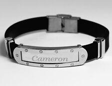 CAMERON - Mens Bracelet With Name - Silver Tone With Frame - Birthday Custom