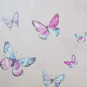 Holden Decor Butterfly Wallpaper Cream Glittery Pink Girly Bedroom Decoration