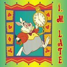 Alice in Wonderland White Rabbit Im Late Button Pin NEW Disney