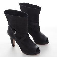 1f6ecee00a8ae Prada Calzature Donna Damen Schuhe Peeptoe Stiefeletten Schwarz Leder 39