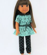 """Doll Clothes AG 14 1/2"""" Pants Black Polka Dot Top Teal Lace Fits AG 141/2"""" Dolls"""