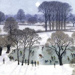 Christmas Cards - Pack of 5 by Ronald Lampitt - Skating by Moonlight