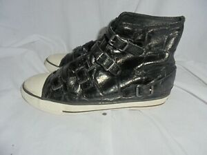 ASH WOMEN BLACK LEATHER LACE UP STRAP ANKLE TRAINERS SIZE UK 6 EU 39
