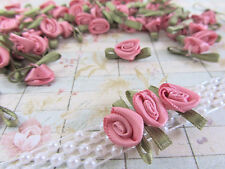 144 Hand Made Rose Pink Satin Ribbon Rose Flower 25mm Applique/Craft/Sewing F92