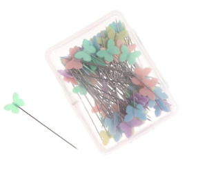 100 x Long Straight Pins mixed Colour Faux Butterfly Hemming Dressmaking Sewing