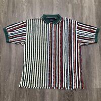 Greg Norman Golf Shirt Mens XL Multicolor Polo Collar Coogi Style 90s Striped