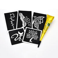 1 Set Henna Tattoo Stencil Body Art Black Paste Drawing Feather Hollow Templates