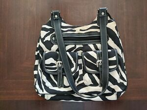 Zebra Pattern Purse, Large, black and white