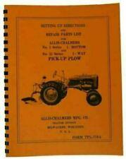 Allis Chalmers Moldboard Pick Up Plow Setting Up Amp Repair Parts Manual