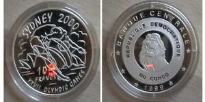 CONGO for Sydney 2000 Olympics. Silver proof coin.
