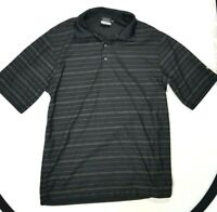 NIKE GOLF DRI FIT Mens Black Striped Short Sleeve Polo Shirt Size SMALL