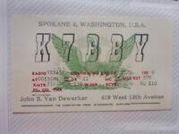 OLD VINTAGE QSL HAM RADIO CARD. SPOKANE, WASHINGTON. 1959