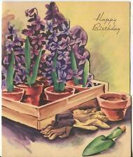 Vintage Purple Hyacinth Garden Pots Gloves Trowel Birthday Greeting Art Card