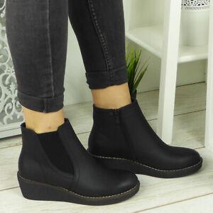 Womens Wedge Boots Ladies Casual Comfy Mid Heel Work Chelsea Zip Ankle Shoes Siz
