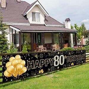 Pimvimcim Gold 80th Birthday Banner Backdrop Decorations for Women Men Happy ...