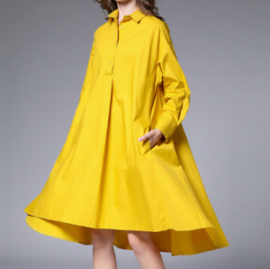 Womens Casual 5Soild Color Long Sleeved Dresses Mid Length Lapel Collar Shirts