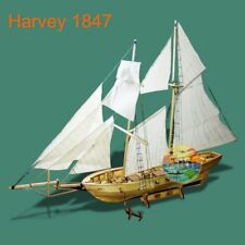 Scale 1/130 Laser-cut Wooden Sailboat Model Kit: The HARVEY 1847 Ship Model
