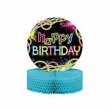 80's Neon Happy Birthday Party - 'Glow Party' Table Centerpiece Decoration