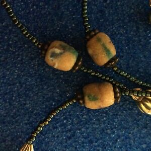 VINTAGE ANTIQUE ROUGH SANDSTONE AFRICAN BEADS POWDERED BEADS 11 IN TOTAL KROBO?