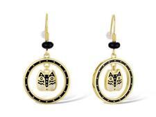 Laurel Burch Polka Dot Gatos Drop Cat Earrings #5145 Gold/Brass Dangle New NWT