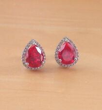 925 Ruby (Lab Created) Stud Earrings/RubyCz Studs/Ruby Jewellery/July Birthstone