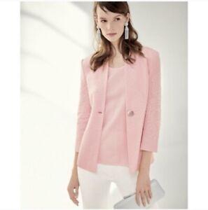MISOOK NWT Pink Textured One Button Blazer Jacket Women's Size 2X NWT MSRP $468
