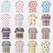 Summer Women Girls T-shirt Floral Short Sleeve Casual T-Shirt Blouse Pullover