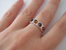 Bague anneau ambre véritable mer baltique argent 925 T. 54,56 BA21c