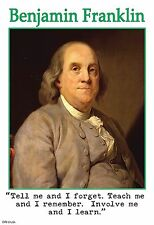 """13""""×19"""" Inspirational Poster: BEN FRANKLIN Quote. Learning. School Classroom Art"""