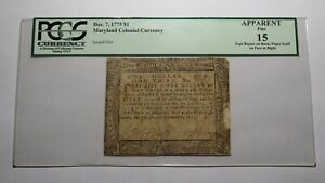 1775 $1 Annapolis Maryland MD Colonial Currency Bank Note Bill! F15 PCGS Graded