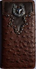 Long Horn Men Wallet Western Bifold Check Book W073-6 Ostrich Brown