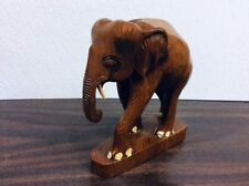 Hand Carved Wood ~ Elephant ~ Statue ~ Figurine