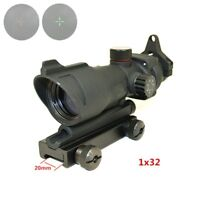 Scope ACOG 1X32 Tactical Red Dot Sight Real Green Fiber Optic Rifle